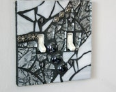 Silver and Shiny - DOUBLE Mosaic Light Switch Cover Wall Plate