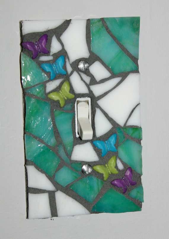 Reserved for Stacy -- Green-Blue & White Butterfly Mosaic Light Switch Cover / Wall Plate Decorative