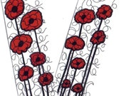 RED Poppies Poppy Bookmark Set PAGE Markers