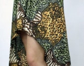 Sale-Vintage 80s Animal Print Safari Gauzy FISHTAIL Maxi MINI Skirt S M