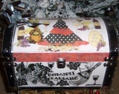 Wine Lovers LARGE Italy Spain Retro Kitchen Decoupage Trunk For CookBooks Decor Display Box 13x8x8 inches