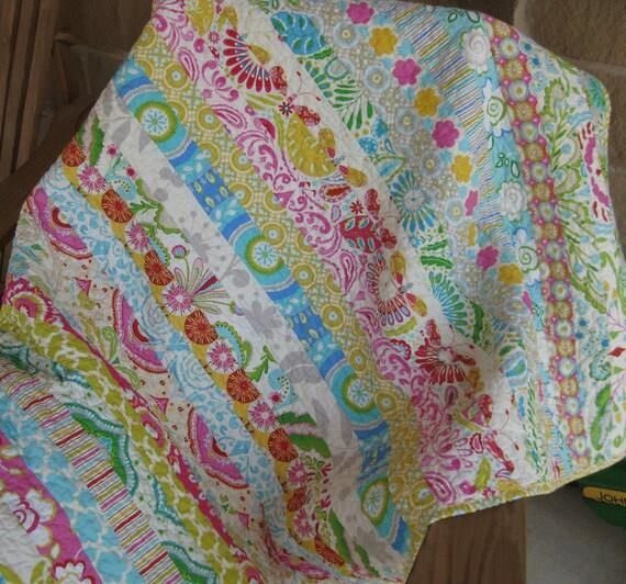 Kumari garden strip baby quilt handmade for Dena designs kumari garden