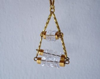 Tri - geometric brass and clear glass rondelles earrings