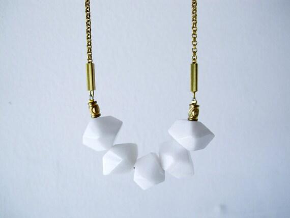 Blanc - geometric unique white quartz faceted nuggets on vintage chain necklace - LAST ONE