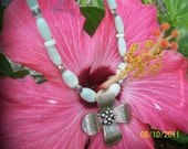Mint Green Cats Eye Necklace with Silver Flower Pendant
