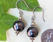 Black Pearl Earrings in Silver and Rhodium