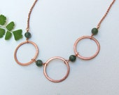 Copper Circle Necklace with Green Moss Agate beads