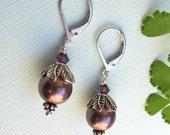 Purple Pearl Earrings with Silver Leaves