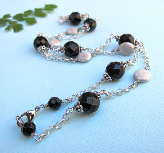 Black Onyx Necklace with Rhodium Beads