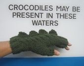 Fingerless mittens crocodile, dinosaur, dragon or monster, pure wool, adults or teens