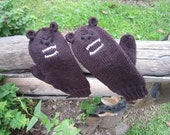 ON SALE Animal mittens Grizzly bears for adults or teens. Wool, alpaca, silk.Turn your hands from brrrr to grrrr