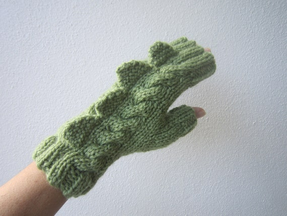 Monster, dinosaur, dragon fingerless gloves. Soft pure wool, adult's/ teens