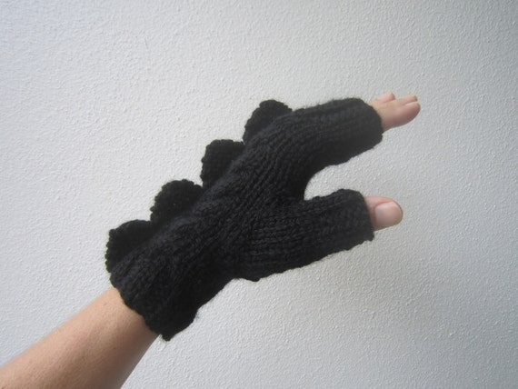 Black dragon or monster fingerless mittens, soft pure wool, for adults or teens