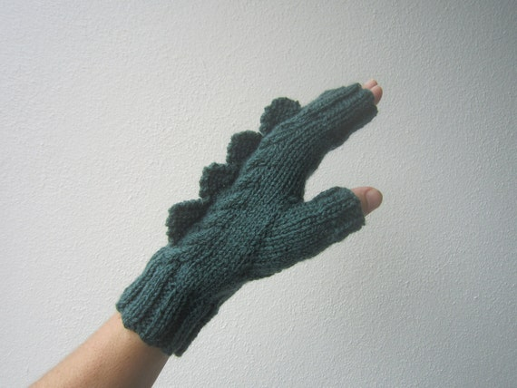 Dark green dragon, dinosaur, crocodile or monster fingerless gloves for adults. Pure wool.