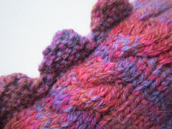 Fingerless mittens dragon, dinosaur or monster, colourful wool and alpaca