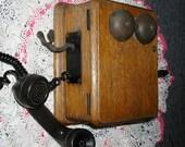 Military Camp Phone, Hand Crank 1944 Oak Wall Unit