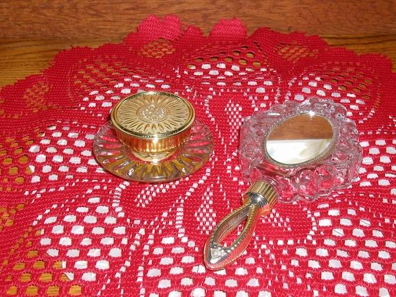 Vintage Avon Vanity Mirror & Small Avon Jar, Set of 2