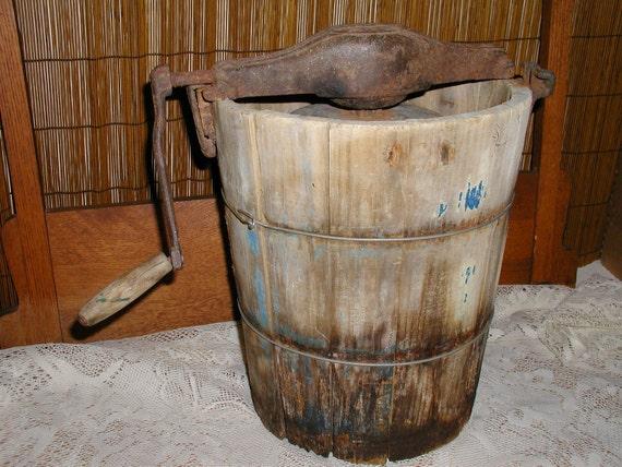 Ice Cream Maker, Rustic Vintage Wood Hand Crank