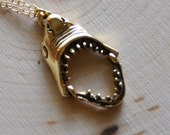Gold Charm Pendant Necklace - Golden Movable Shark Jaws