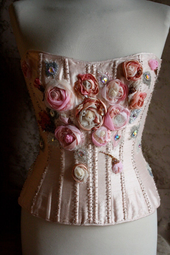 RESERVED  Hand embroidered corset