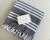 Turkish Bath Towel Organic Beach Bath Towel Traditional Peshtemal From Turkish Hamams Black and White Stripes Grey tones