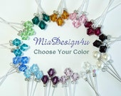 24 pcs of 6mm Swarovski Crystal / Pearl Stems for Wedding Flower Bouquet Floral Pick Cake Topper Centerpieces Decoration -choose your colors