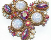 Vintage Red Aurora Borealis Rhinestone Pink Opalescent Glass Gold Tone Pin