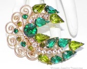 Vintage JULIANA Peridot Green & Teal Rhinestone Gold Filigree Pin