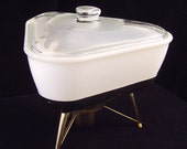 1950s Casserole Triangular White Milk Glass Lidded With Warming Stand Eames Era Serving Dish