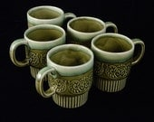 Stacking Coffee Cups Vintage Japanese Avocado Green and Blue Glaze Ceramic Set of 5