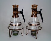 Glass Coffee Carafes Vintage Mid Century Pair Copperplate and Glass With Warming Stands 1950s Housewares Serving Pitchers