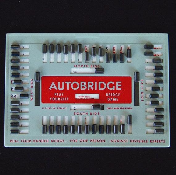 Vintage 1950s Auto Bridge Play-Yourself Bridge Atomic Era Game Mid Century Modern