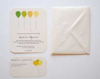 Custom Balloon Baby Shower Invitations - Set of 8