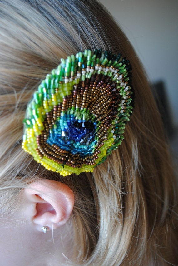 Beaded Peacock Feather -hair clip-