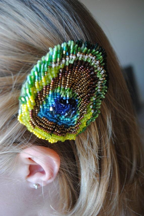 Beaded Peacock Feather -hair clip-