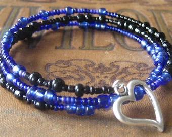 Memory Wire Bracelet Cobalt and Black Stacked Wrapped Bracelet