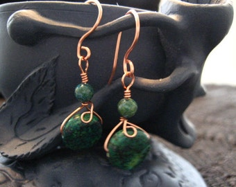 Copper and the look of Malachite Earrings