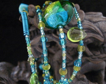 Beaded Memory Wire Bracelet Multi Strand Turquoise and Peridot  Wrapped Bracelet