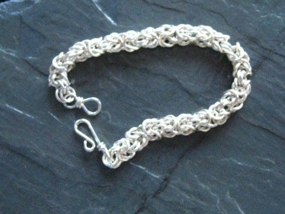 Silver  Byzantine Weave Tutorial KIT Chainmaille Bracelet KIT