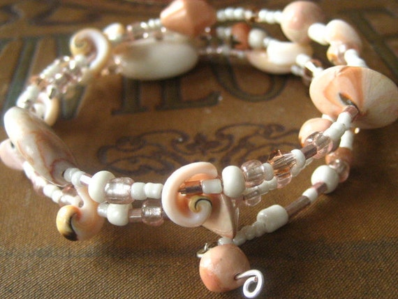 Beaded Memory Wire Bracelet Multi Strand White and Peach Shell Wrapped Bracelet