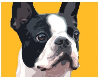 avald Boston Terrier 05 Art Print of Original Dog Puppy Painting