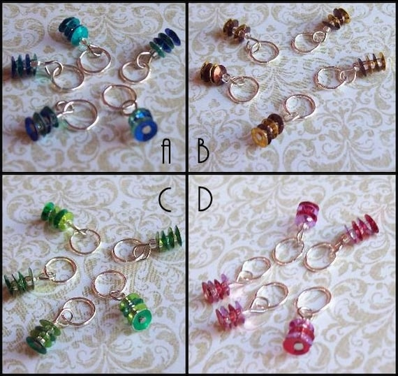 Sequined Knitting Stitch Markers Multi Set of 10 for your