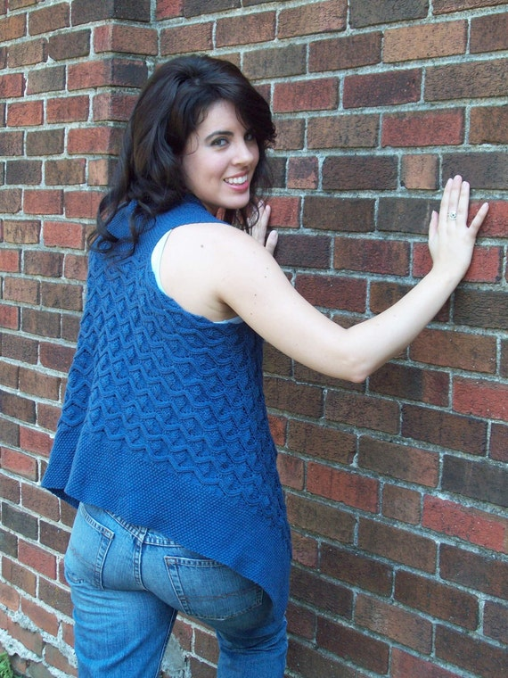 Blue Velvet Reversible Faux Cabled Vest: PDF Knitting ...