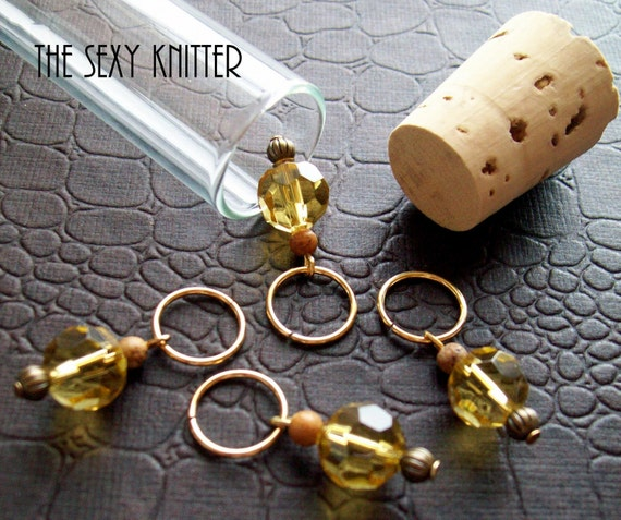 LAST SET Golden Sunrise Knitting Stitch Markers - Mustard Yellow - set of 4
