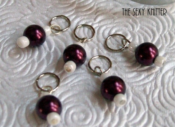 Burgundy Pearl Stitch Markers - Set of 5