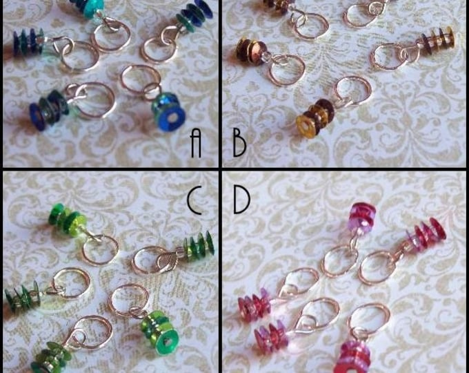 Sequined Knitting Stitch Markers Multi - Set of 10 for your WIP bag