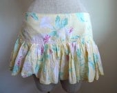 Vintage 90s Abercrombie & Fitch Mini Skirt with Lillies Patern, Size 8
