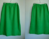 Vintage JH Over-the-knee A-line Skirt in Bright Green, Size 8/9