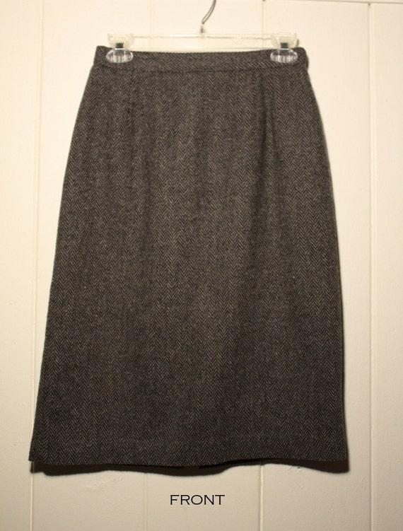 Vintage Christy  Girl Black Gray Pencil Wool Skirt Size 8
