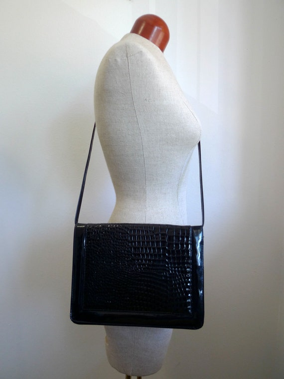 Vintage TanDem Crossbody bag, handbag or clutch all in one in black